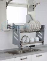 Giá kéo úp bát đĩa tủ trên 2 tầng inox 304 có khay inox 304 hứng nước